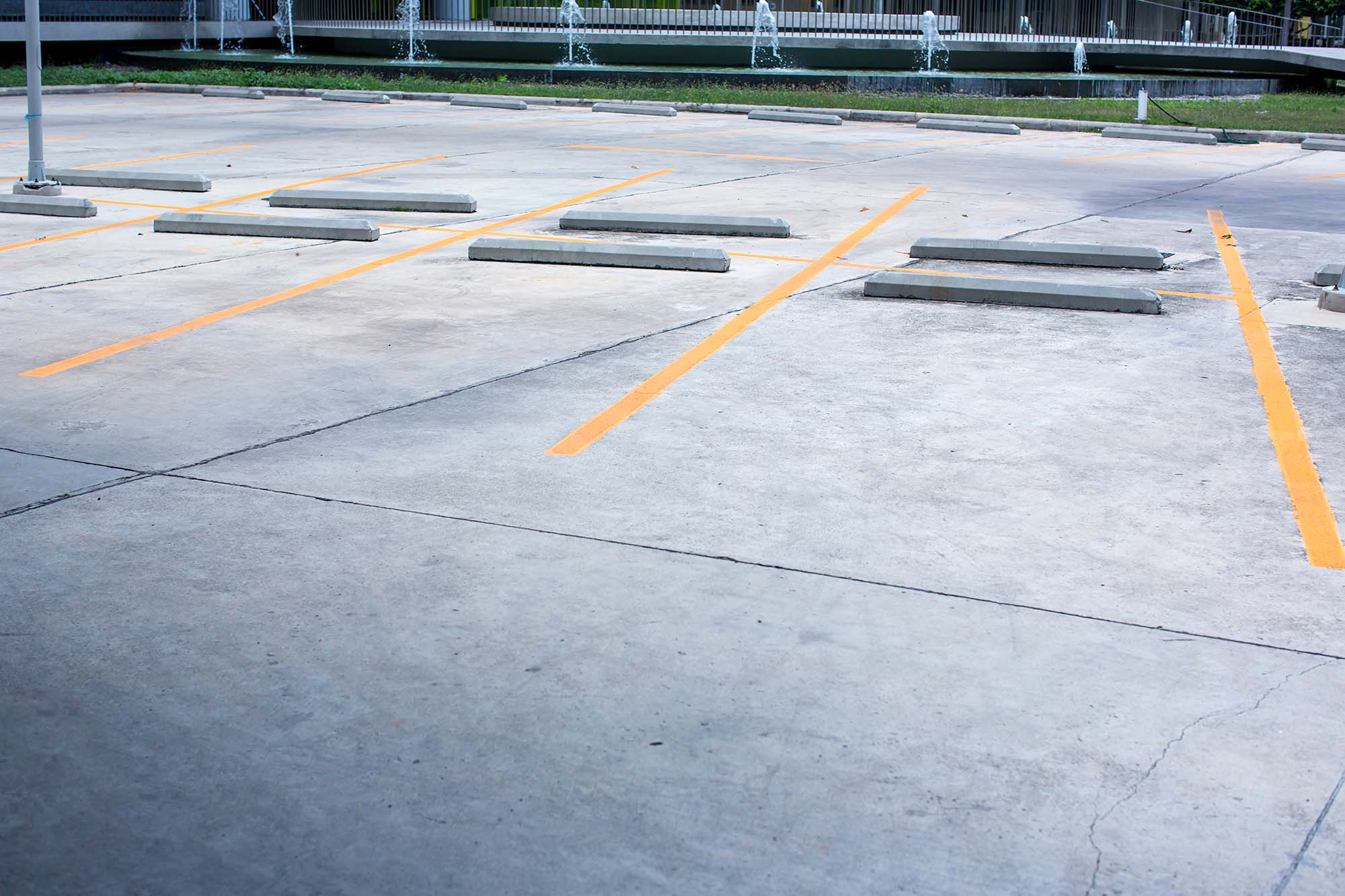 Commercial parking block installation